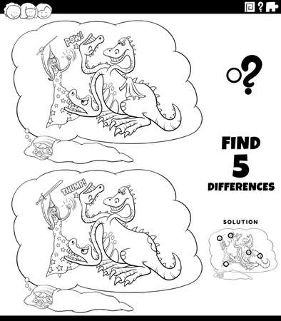 Black and white cartoon illustration of finding the differences between pictures educational game with girl's fantasy dream coloring book page