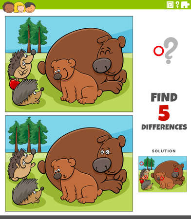 Cartoon illustration of finding the differences between pictures educational game for children with bears and hedgehogs
