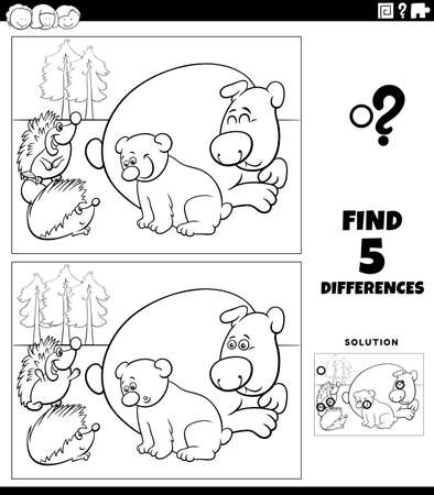 Black and white cartoon illustration of finding the differences between pictures educational game for children with bears and hedgehogs coloring book page Иллюстрация