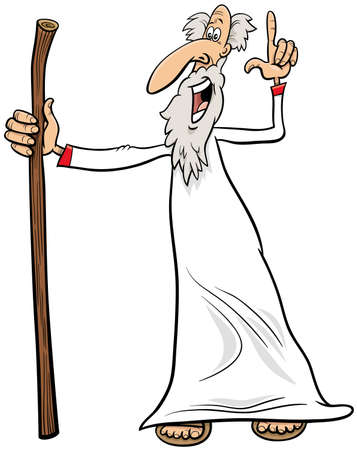 cartoon illustration of sage or prophet or druid comic character