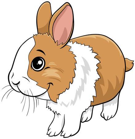 Cartoon illustration of cute dwarf rabbit comic animal character