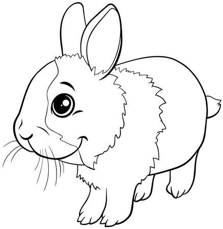 Black and white cartoon illustration of cute dwarf rabbit comic animal character coloring book page