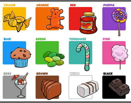 Cartoon illustration of basic colors with comic sweet food object educational set 矢量图像