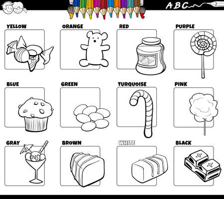 Black and white Cartoon illustration of basic colors with comic sweet food object educational set coloring book page