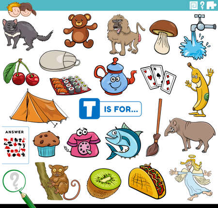 Cartoon illustration of finding pictures starting with letter T educational task worksheet for children with objects and comic characters