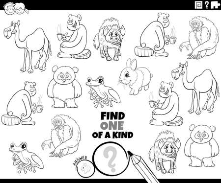 Black and white cartoon illustration of find one of a kind picture educational game with cute animal characters coloring book page