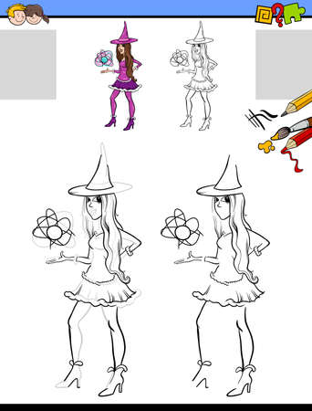 Cartoon illustration of drawing and coloring educational activity for children with witch girl character