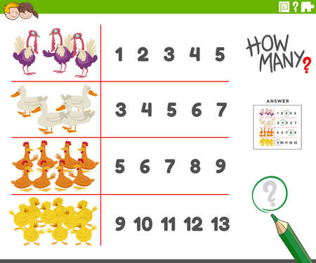 Cartoon illustration of educational counting activity for children with funny farm birds animal characters