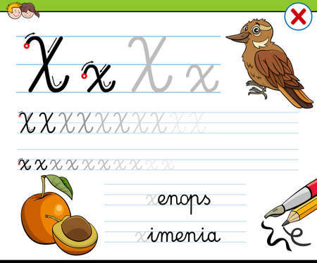 Cartoon illustration of writing skills practice worksheet with letter X for preschool and elementary age children