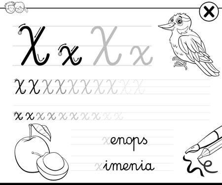 Black and white cartoon illustration of writing skills practice worksheet with letter X for preschool and elementary age children coloring book page