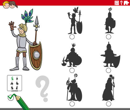Cartoon illustration of finding the right picture to the shadow educational task for children with knight character