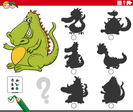 Cartoon illustration of finding the right shadow to the picture educational game for children with dragon fantasy character  イラスト・ベクター素材