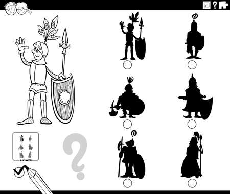Black and white cartoon illustration of finding the right picture to the shadow educational task for children with knight character coloring book page