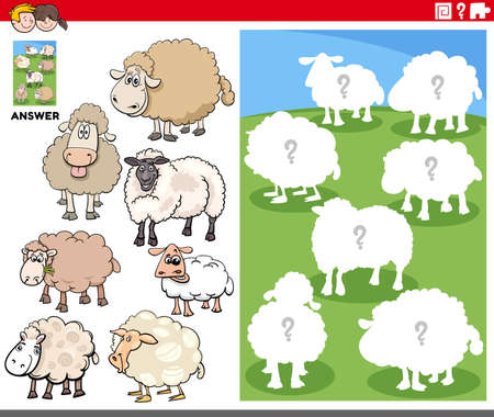 Cartoon illustration of match animals and the right shape or silhouette with sheep farm animal characters educational game for children