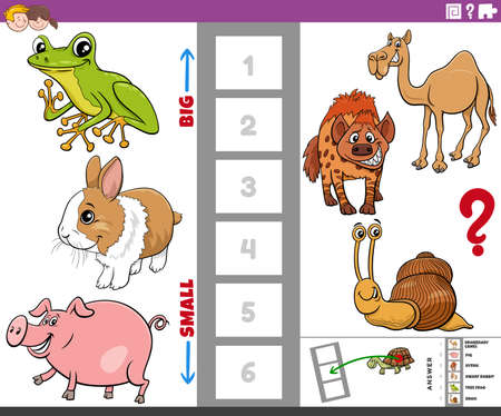 Cartoon illustration of educational game of finding the biggest and the smallest animal species with funny characters for children