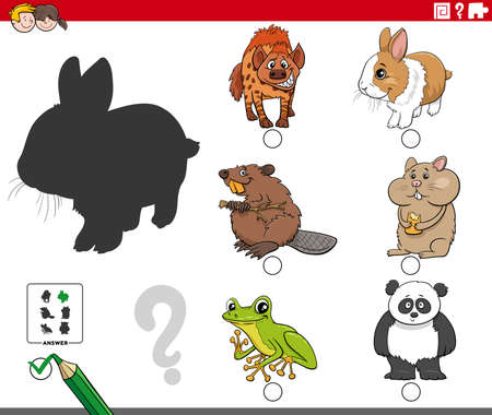 Cartoon illustration of finding the right picture to the shadow educational task for children with animal characters