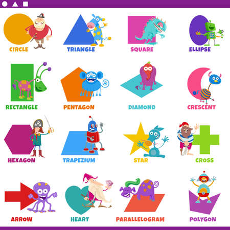 Educational cartoon illustration of geometric shapes with captions and fantasy characters for preschool and elementary age children  イラスト・ベクター素材