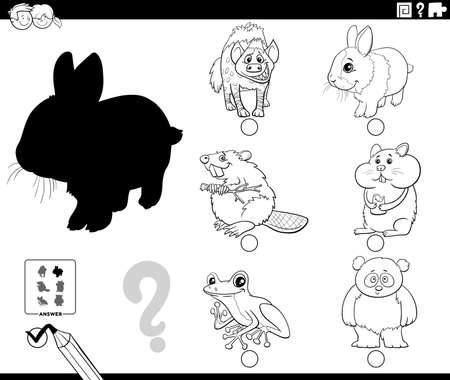 Black and white cartoon illustration of finding the right picture to the shadow educational task for children with animal characters coloring book page