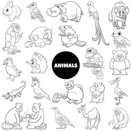 Black and white cartoon illustration of funny wild animal characters big set Ilustração