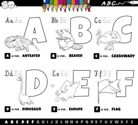 Black and white cartoon illustration of capital letters from alphabet educational set for reading and writing practice for kids from A to F coloring book page
