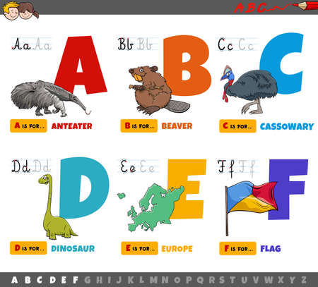 Cartoon illustration of capital letters from alphabet educational set for reading and writing practice for kids from A to F