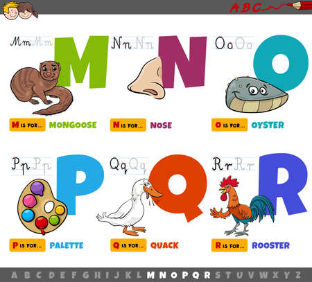 Cartoon illustration of capital letters from alphabet educational set for reading and writing practise for kids from M to R