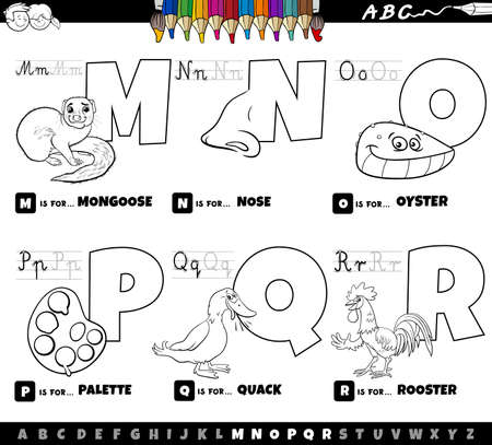 Black and white cartoon illustration of capital letters from alphabet educational set for reading and writing practise for kids from M to R coloring book page