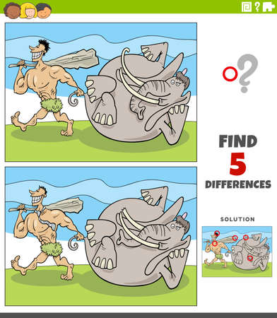 Cartoon illustration of finding the differences between pictures educational game with prehistoric man or caveman with mammoth