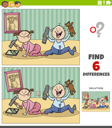 Cartoon illustration of finding the differences between pictures educational game with little girl and boy babies characters