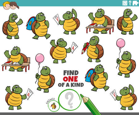 Cartoon illustration of find one of a kind picture educational game with turtles student characters