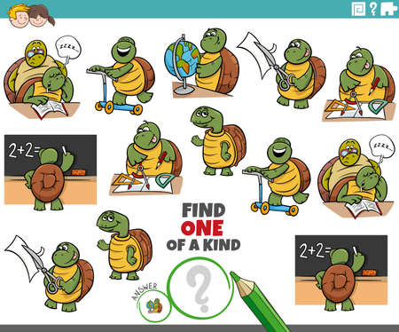Cartoon illustration of find one of a kind picture educational game with funny turtles student characters