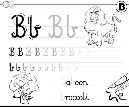 Black and white cartoon illustration of writing skills practice worksheet with letter B for preschool and elementary age children coloring book page