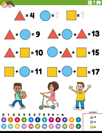 Cartoon illustration of educational mathematical addition puzzle task with children characters