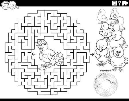Black and white cartoon illustration of educational maze puzzle game for children with little chick hatched from Easter egg coloring book page Vector Illustration