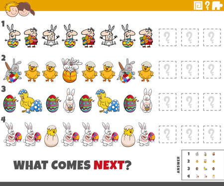 Cartoon illustration of completing the pattern educational game for children with Easter characters