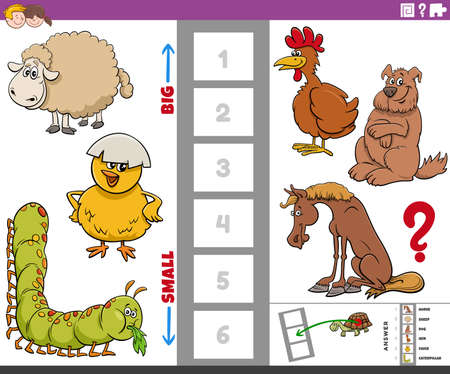 Cartoon illustration of educational game of finding the biggest and the smallest animal species with comic characters for kids