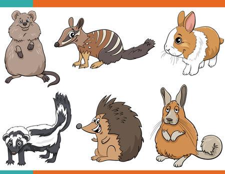 Cartoon illustration of funny mammals animals comic characters set