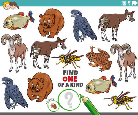 Cartoon illustration of find one of a kind picture educational task with funny animal characters