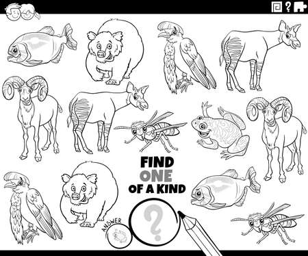 Black and white cartoon illustration of find one of a kind picture educational task with funny animal characters coloring book page Illustration