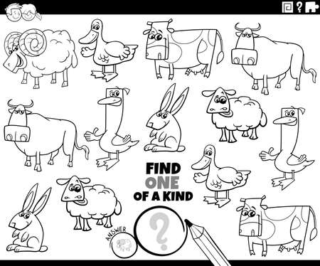 Black and white cartoon illustration of find one of a kind picture educational game with funny farm animal characters coloring book page
