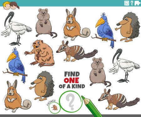 Cartoon illustration of find one of a kind picture educational game with funny animal characters Illustration