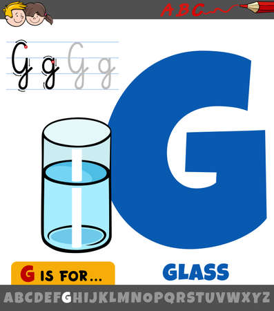 Educational cartoon illustration of letter G from alphabet with glass of water Illustration