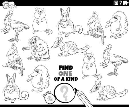 Black and white cartoon illustration of find one of a kind picture educational game with funny animal characters coloring book page