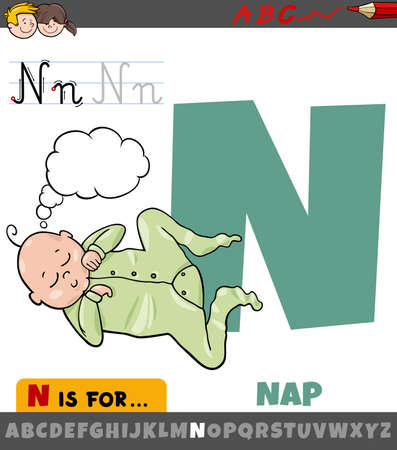 Educational cartoon illustration of letter N from alphabet with nap word