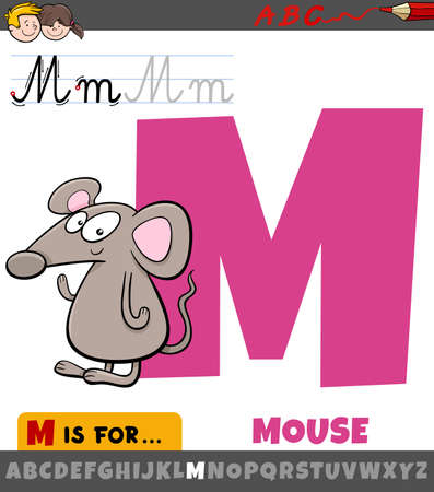 Educational cartoon illustration of letter M from alphabet with mouse animal character