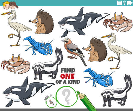 Cartoon illustration of find one of a kind picture educational game with wild animal characters