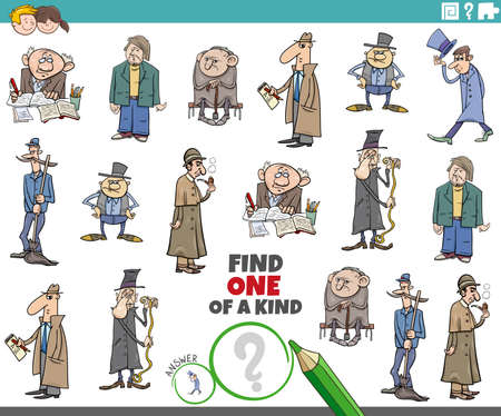 Cartoon illustration of find one of a kind picture educational task for children with comic men characters