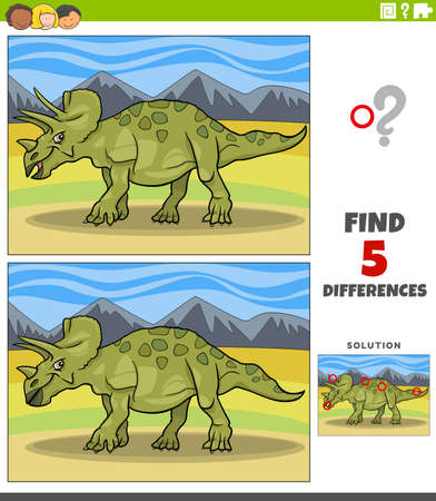 Cartoon illustration of finding the differences between pictures educational game for children with triceratops dinosaur prehistoric animal character Illustration