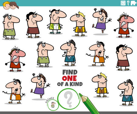 Cartoon illustration of find one of a kind picture educational task for children with funny men characters Illustration