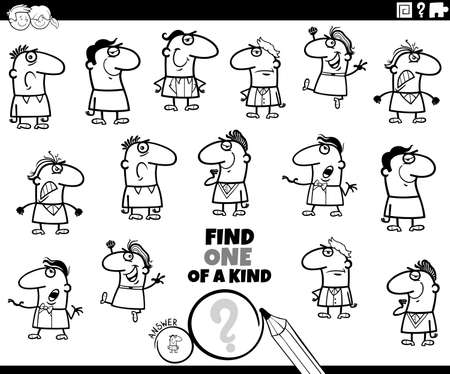Black and white cartoon illustration of find one of a kind picture educational task for children with funny men characters coloring book page Illustration